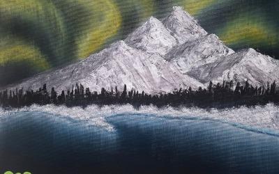 Polárna žiara – moje prvé plátno
